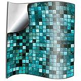 Tile Style Decals 24 stück Fliesenaufkleber für Küche und Bad 24xTP3-6-Turquoise | Mosaik Wandfliese Aufkleber für 15x15cm Fliesen Deko Fliesenfolie für Küche u. Bad (15cm 24 stück, Türkis)