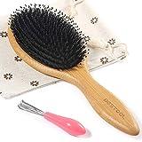 BESTOOL Haarbürste, Wildschweinborsten Bürste mit Nylonstiften, Professionelle Bambus Paddel Bürste zur Haarentwirrung und Detangling, Verbesserung der Haartextur (Runde)
