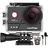 LeadEdge A20 Action Cam 4K/30FPS 1080P/60FPS 20MP Unterwasserkamera Externes Mikrofon WiFi Anti-Shake Bildstabilisator Helmkamera 40M 2,0 IPS 170 ° Weitwinkel Fernbedienung 2 Akkus und Zubehör Kits