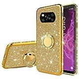Nadoli Glitzer Hülle für Xiaomi POCO X3 NFC,Kristall Diamant Strass Bumper mit 360 Ring Kickstand Silikon Schutzhülle Handyhülle Frauen Mädchen für Xiaomi POCO X3 NFC,Gold