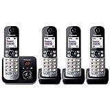 Panasonic KX-TG6824GB DECT Schnurlostelefon mit Anrufbeantworter (Telefon mit 4 Mobilteilen,...