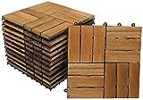 SAM® Terrassenfliese 02 aus Akazien-Holz, 33er Spar-Set für 3 m², Garten-Fliese in 30 x 30 cm, Bodenbelag mit Drainage, klick-Fliesen für Garten Terrasse Balkon