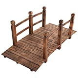 RELAX4LIFE Holzbrücke mit Geländer, Gartenbrücke Spießtannenholz, Teichbrücke bis 100 kg belastbar, Zierbrücke Stabil, Dekobrücke langlebig, 150 x 67 x 55 cm (Braun)