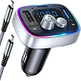 AINOPE FM Bluetooth Adapter Auto, Bluetooth Transmitter Auto PD3.0 & QC3.0 36W/6A BT5.0, Kfz Radio FM Transmitter Bluetooth Auto Freisprechanlage mit 7Farben LED Backlit Unterstützt TF-Karte USB-Drive