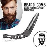 Careor Bartkamm aus Edelstahl, faltbar, für Männer, zum Pflegen & Kämmen von Haaren, Bärten und Schnurrbärten, Bart- und Schnurrbart-Stylingkamm, faltbarer Taschenkamm