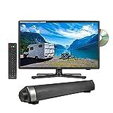 Reflexion 19 Zoll Wide-Screen LED-Fernseher mit Soundbar für Wohnmobile mit DVB-T2 HD, DVD-Player, Triple-Tuner und 12 Volt KFZ-Adapter (12 V/24 V, Full HD, HDMI, USB, EPG, CI+, DVB-T Antenne)