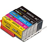 DOREINK PGI-580 XXL CLI-581 XXL Ersatz Kompatibel für Canon 580 581 Druckerpatronen für Canon Pixma TR8550 TS6150 TS8150 TS8250 TS6250 TR7550 TS705 TS8151 TS6151 TS8152 TS9150 TS9550 TS9155 (5 Pack)