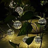 echosari Solar Powered Silber Marokkanische Orb warmweiße LED-Schnur-Licht 5M 20 LED für Outdoor Gartenzaun Patio Weihnachtsfest -Hochzeit Dekoration