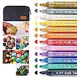Wanap Acrylstifte, Acrylic Painter Ink 2-3mm Glasmalstifte Set von 12 Farben, Schnelltrocknende LackstiftMarkerStifte für Steine Glass Leinwand DIY usw. - mit Filzstiftbeutel