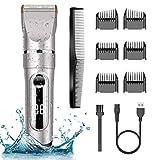 NWOUIIAY Profi IPX7 Elektrische Haarschneidemaschine Akku Herren Haarschneider Männer Haartrimmer Einstellbarer Titan-LCD-Bildschirm mit menschlicher Klinge Wasserdicht zum Baden