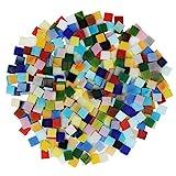 BELLE VOUS Mosaik Steine Bunt Glas (700 Stück / 500g) - 1 x 1 cm Deko Steinchen - Sortierte Quadratische Mosaiksteine zum Basteln Set für Heim Deko, Fotorahmen, Blumentöpfe, Spiegel & Kunsthandwerk