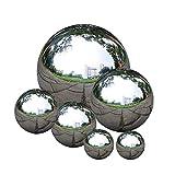 Edelstahl Gartenkugel, zosenda 6 Stück 50-150 mm Spiegelpoliert Hohlkugel Reflektierende Gazing Ball , Schwimmende Teichkugeln Nahtlose Dekokugel Spiegelkugel für Hausgarten Ornament Dekorationen