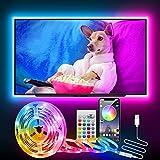 LED TV Hintergrundbeleuchtung, CGN 2.5M LED Strip Bluetooth für 32-60 Zoll Fernseher und PC, RGB...
