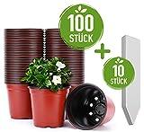 100 Stück Premium Pflanztöpfe mit 10 Steckettiketten - Pflanzentöpfe aus Kunststoff - Pflanztopf mit den Maßen 9 / 8,7 / 6,5 cm - Anzuchttöpfe für Innen und Draußen - Blumentopf Plastik Pflanzentopf