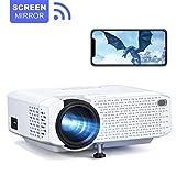 Crosstour Beamer WiFi, Mini LED-Projektor, Tragbares Heimkino Unterstützt Full HD Bildschirmspiegel Drahtloser Kompatibel mit Mobiltelefon/TV-Box/HDMI/USB/VGA