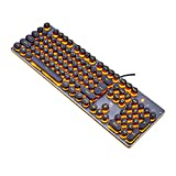 GTJXEY USB LED Backlit Retro Schreibmaschine mechanische Tastatur-Runde Tastenkappen-104 Tasten Vintage inspirierte Steampunk Gaming-Tastatur - mechanische Gaming-Tastatur für PC,Orange