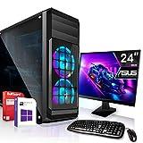 AMD Ryzen 3 2200G 4x3.7GHz Komplett PC-Paket Set mit 24 TFT - Monitor/Tastatur Maus   16GB DDR4  256GB M2 SSD und 1TB Festplatte   Win10   WLAN   Gamer pc Computer komplettpaket Rechner Leise
