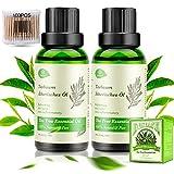 Teebaumöl 100% Natürrein Reines, 2x30ML Pure Bio Tea Tree Oil Anti Pickel Anti-Akne für Gesicht, Körper, Hautpflege, Shampoo, gegen Schuppen Mitesser, Diffuser Teebaum Ätherische Öl mit Wattestäbchen