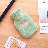 Wärmeflasche mit Bezug WärmflascheKinder, Flauschig Wärmflasche Öko Kleine Gummi Wärmflasche 0,5 Liter mit Softem Bezug, MiniWärmflasche für Kinder und Erwachsene (Grün)