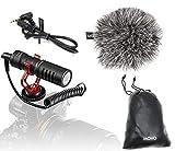 Movo VXR10 Universal Video Mikrofon mit Shock Mount, Fell-Windschutz, Hülle für iPhone/Andoid Smartphones, Canon EOS/Nikon DSLR Kamera Mikrofon