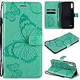 ViViKaya Handyhülle für LG K22、K22 Plus,Schlanke Leder Schmetterling Brieftasche hülle Flip...