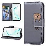 Miagon Tier Flip Hülle für Huawei P40 Lite,Brieftasche PU Leder TPU Cover Design mit Ständer Kartenfächer Magnetverschluss Handytasche Wallet Case Cover,Grau