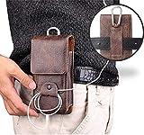 Classic Pouchos Gürtelclip Holster Tasche Echtleder Handytasche Kompatibel iPhone 11, Pro, Max, 6 7 X, Samsung Galaxy A10, A20, A50, S7, S8, S9, S10, S20 Huawei, Motorola + Handyhalterung
