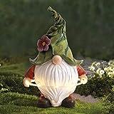 La Jolíe Muse Gartenfigur aus Harz – weihnachtlicher Tomte Gnom mit langem Bart mit Hula-Hoop-Reifen mit LED Lichtern, festliche Außendekoration für Terrasse, Vorgarten, Garten, Geschenk zu Weihachten