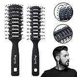 2 Stück Herrenhaarbürste,Vent-Bürste,Styling und Föhnbürste für Zurückgeglättete,Belüftete Haarbürsten Set für Männer Frauen, zum Täglichen Frisieren der Haare