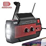 Raddy SW3 Kurbelradio Tragbares Solar Radio Notfall AM FM Dynoma Radio mit USB Handyladefunktion LED...