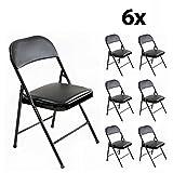 Stalwart - 6er Set stabile Klappstühle Faltstühle Stuhl Metall in schwarz PVC für Gäste und Veranstaltungen, 6 Stühle