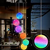 Gerhannery LED Solar Wind Chime Light Spiral Spinner Color Changing Garden Lamp Waterproof Outdoor Decorative Romantic for Patio Yard Garden with Hook (Ball)