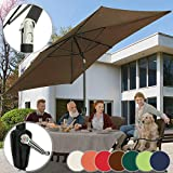 MIADOMODO Sonnenschirm 3 x 2 m - Rechteckig, Farbwahl, Quadratisch, mit Handkurbel, Knickbar, UV-Schutz - Gartenschirm, Marktschirm, Balkonschirm, Terassenschirm