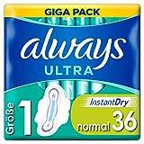 Always Ultra Binden Damen Gr. 1 (36 Damenbinden mit Flügeln) Giga Pack, Ultra Dünn Und Super Saugfähig, Geruchsneutralisierend Und Auslaufschutz