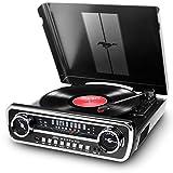 ION Audio Mustang LP - USB Plattenspieler mit Lautsprecher / Schallplattenspieler Retro mit Radio,...