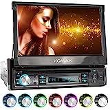 XOMAX XM-D749 Autoradio mit 18 cm / 7' Touchscreen I DVD, CD, USB, AUX I RDS I Bluetooth I Anschlüsse für Rückfahrkamera, Lenkradfernbedienung und Subwoofer I 1 DIN