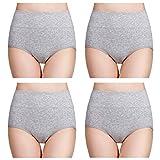 wirarpa Damen Unterhosen Baumwolle Slips Damen Hoher Taille Atmungsaktive Taillenslip Wochenbett Unterwäsche Mehrpack Größen 32-58, Grau, X-Large (46/48)