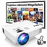 DR. Q HI-04 Beamer mit 100 Zoll Screen, Beamer Full HD 6000 Lumens, Mini Beamer Unterstützt 1080P...