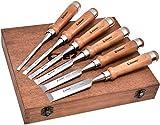 EZARC Profi Stechbeitel Set für Holz, 6-teilig Stemmeisen Set für Holzarbeiten, Stecheisen Satz für Anfänger und Profis - Holzmeiselset