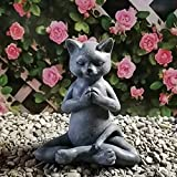 SSLLH Statuen & Garten Skulpturen,Meditation Katze Tier sitzen Statue Garten Outdoor Figur Dekoration,Patio Yard Rasen Ornamente Geschenk für Zuhause Indoor Outdoor Frühlingsdekor Wetterfest
