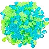 Nachtleuchtende Kieselsteine, Leuchtsteine, für Gartengehweg, Teich (2 x 1,5 cm, Grün, Blau, 300 Stück)