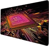 gaming mauspads Leiterplatte CPU-Schaltung minimalistischer Prozessor rot Game Mouse Pad XXXL übergroße Desktop-Pad Game Pad riesige wasserdichte rutschfeste