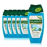 Palmolive Duschgel Wellness Massage 6 x 250 ml - Duschgel mit Meersalz, Aloe - Extrakt & ätherischem Öl