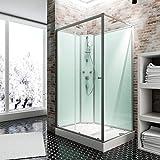 Schulte Fertigdusche Komplettdusche 120 x 90 cm Duschtempel Ibiza, 5 mm Sicherheits-Glas, Profile alu natur, Rückwände light-grün, Duschwanne weiß