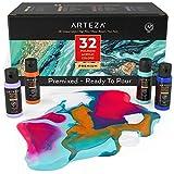 Arteza Pouring Acrylfarbe, 32 Stück-Set, 60 ml Flaschen mit vielen Farbtönen, flüssige Gießfarbe, kein Mischen erforderlich, Farbe zum Gießen auf Leinwand, Glas, Papier, Holz, Fliesen und Steine