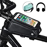 UBaymax Fahrrad Rahmentasche mit Fingerabdrucksensor, wasserdichte Lenkertasche Oberrohrtasche für Smartphones bis 6 Zoll mit Kopfhörerloch, TPU Touchschirm Handy Fahrradtasche, Schwarz