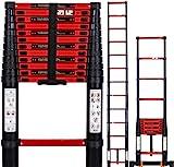 Fitprobo Teleskopleiter 3.8M mit Stabilisator,Aluminium Ausziehleiter Hohe Mehrzweckleiter klappleiter,Maximale Belastung 150 kg