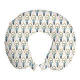 ABAKUHAUS Modern Reisekissen Nackenstütze, Lampe Beams Grafik, Schaumstoff Reiseartikel für Flugzeug und Auto, 30x30 cm, Ivory Multicolor