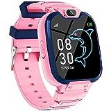 Smartwatch Kinder Telefon für Mädchen und Jungen mit Spiele Musik Player Kamera Anruf Uhr SOS,Uhr mit Wecker Taschenrechner Taschenlampen Smart Watch Student (Rosa)