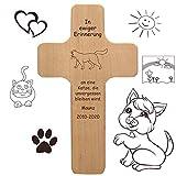 Katzenkreuz mit individueller Gravur - Name, Spruch, Motiv - Holzkreuz für Katze oder Kater als Katzenschild, Grabkreuz für verstorbene Samtpfoten, Gedenktafel, Trauergeschenk, Grabdeko